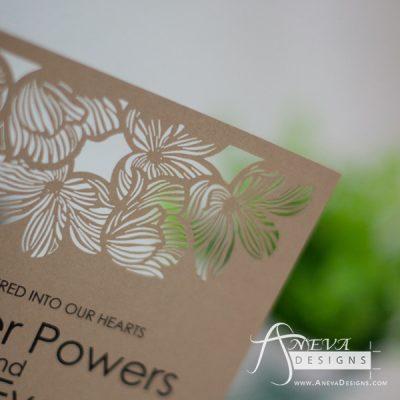 Fine Flower Top wedding invitation - kraft