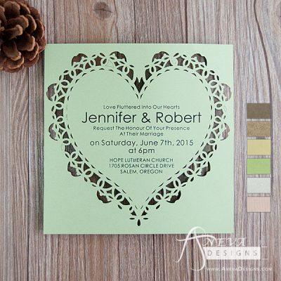 Heart Frame laser cut paper wedding invitations