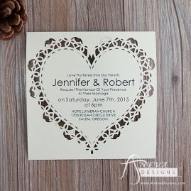 Heart Frame laser cut paper wedding invitations by Aneva Designs, LLC.