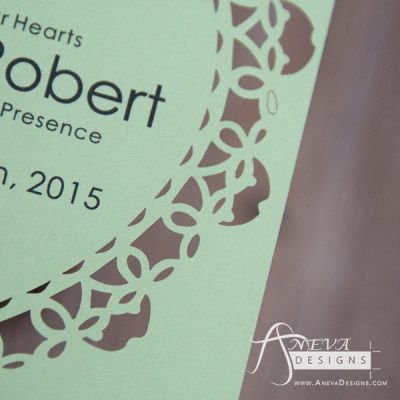 Heart Frame laser cut paper wedding invitations - detail