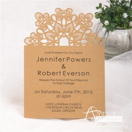 Abstract Flower Top laser cut paper wedding invitations by Aneva Designs, LLC.