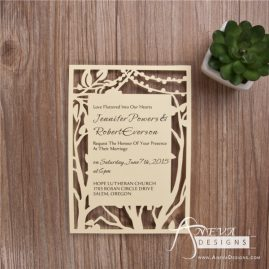 Tree and String Lights Frame laser cut paper invitations by Aneva Designs, LLC.