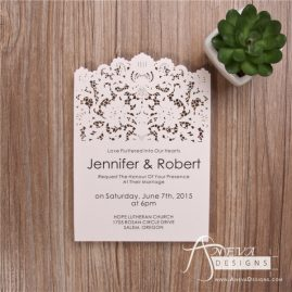 Vintage Lace Top Laser cut paper wedding invitation