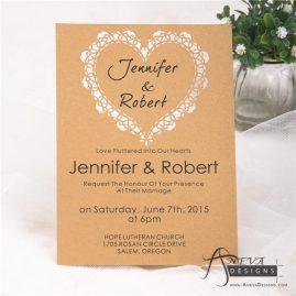 Sweetheart Flat Card laser cut paper wedding invitation - detail
