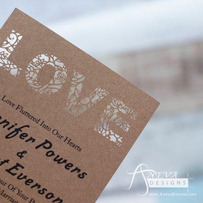 LOVE type laser cut paper wedding invitation - detail