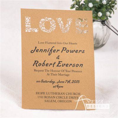 LOVE type laser cut paper wedding invitation