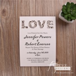 LOVE type laser cut paper wedding invitation