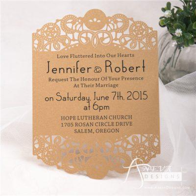 Intricate Swirl Flat Card laser cut wedding invitation