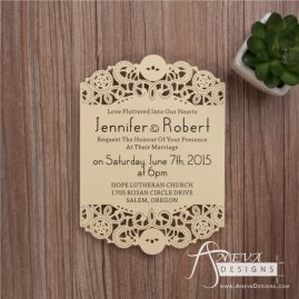 Intricate Swirl Flat Card laser cut wedding invitation