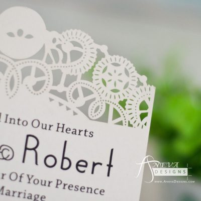 Intricate Swirl Flat Card laser cut wedding invitation - detail