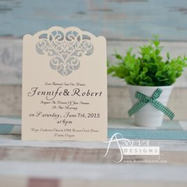 Cloud Hearts laser cut wedding invitation