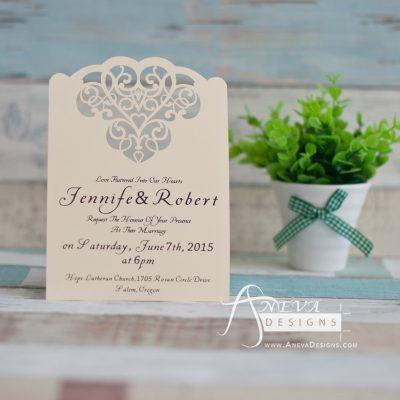 Cloud Hearts laser cut wedding invitation
