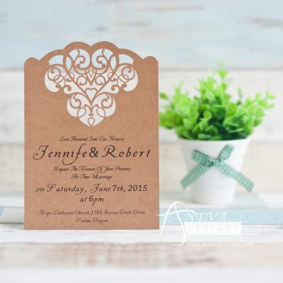Cloud Hearts laser cut wedding invitation - kraft