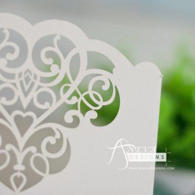 Cloud Hearts laser cut wedding invitation - detail