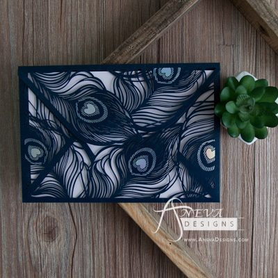 Peacock Feather Envelope with Metallic Accent laser cut invitation - navy blue