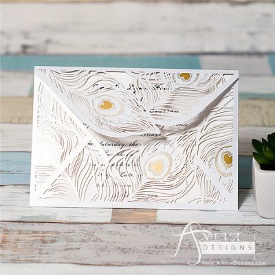 Peacock Feather Envelope with Metallic Accent laser cut invitation