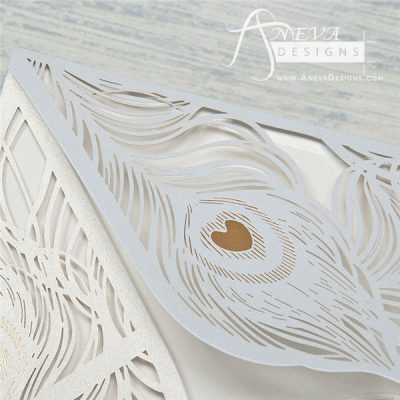 Peacock Feather Envelope with Metallic Accent laser cut invitation - heart detail