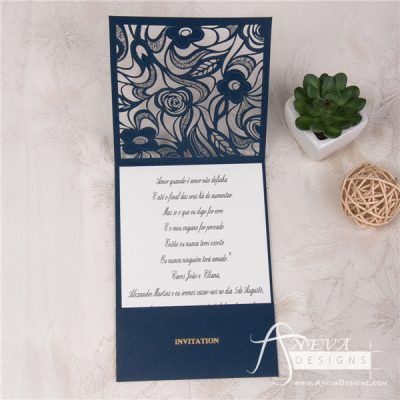 Delicate Floral Pocket laser cut wedding invitation - navy