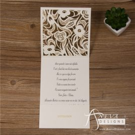 Delicate Floral Pocket laser cut wedding invitation