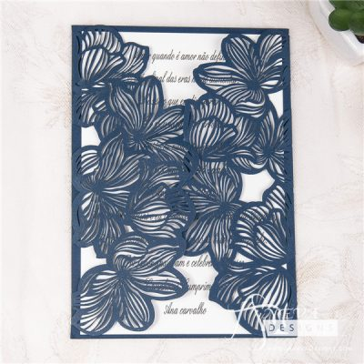 Fine Flower Gatefold laser cut wedding invitation - navy