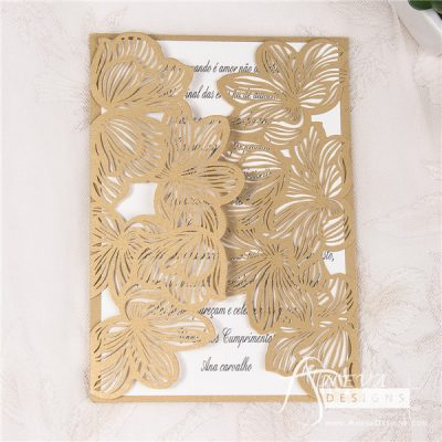 Fine Flower Gatefold laser cut wedding invitation
