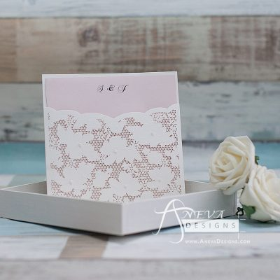 Embellished Floral Pocket laser cut wedding invitation