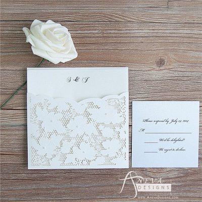 Embellished Floral Pocket laser cut wedding invitation and RSVP card