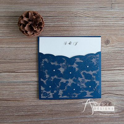 Embellished Floral Pocket laser cut wedding invitation - navy