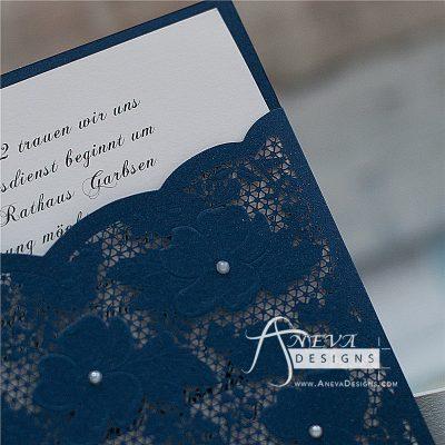 Embellished Floral Pocket laser cut wedding invitation - navy detail
