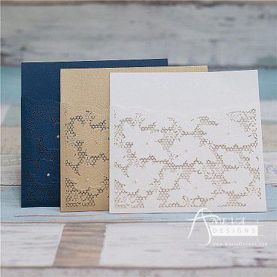 Embellished Floral Pocket laser cut wedding invitations