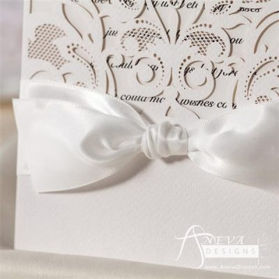 Intricate Symmetry Pocket with Ribbon laser cut wedding invitation - ribbon detail