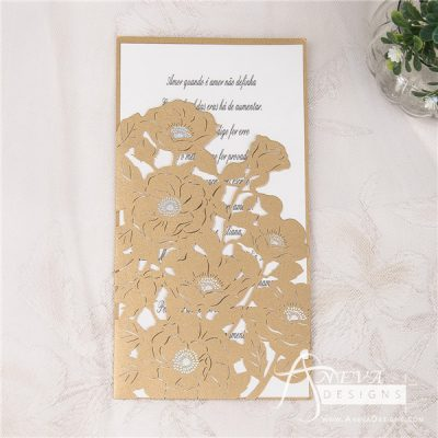 Peony Flowers with Metallic Accent laser cut wedding invitations
