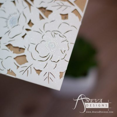 Peony Flowers with Metallic Accent laser cut wedding invitations - detail