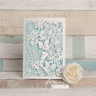 Garden Floral Card laser cut invitation