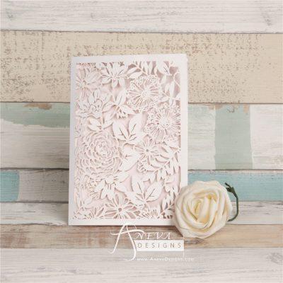 Garden Floral Card laser cut invitation - blush pink