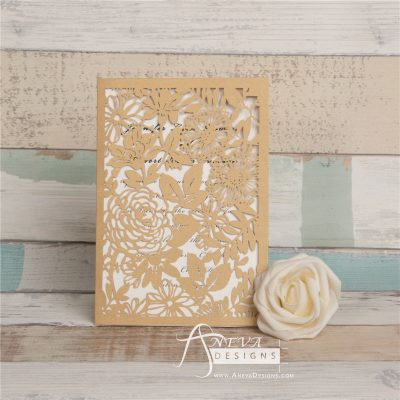 Garden Floral Card laser cut invitation - gold