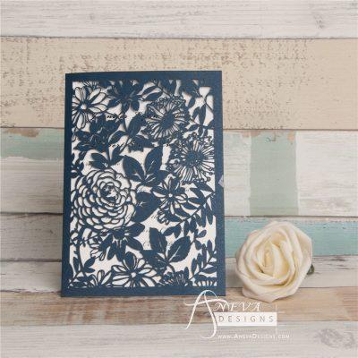 Garden Floral Card laser cut invitation - navy