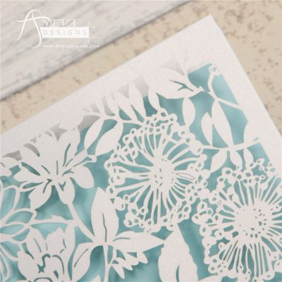 Garden Floral Card laser cut invitation - detail
