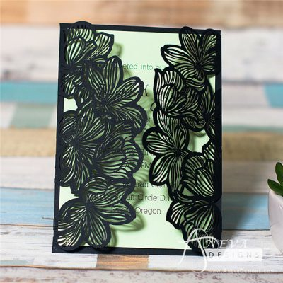 Fine Flower Gatefold laser cut wedding invitation in black