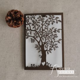 Tree Fold Card laser cut wedding invitation