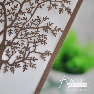 Tree Fold Card laser cut wedding invitation - detail
