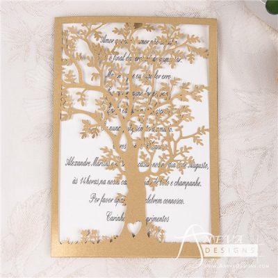 Tree Fold Card laser cut wedding invitation