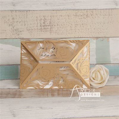 Peacock Feather Wrap laser cut wedding invitation