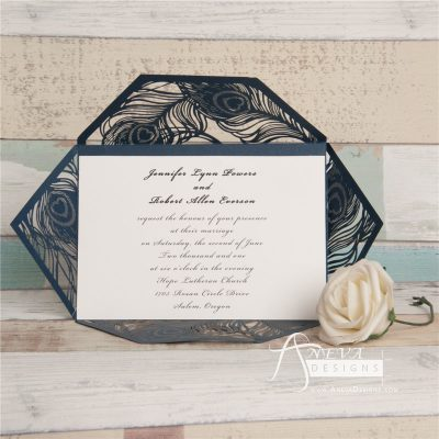Peacock Feather Wrap laser cut wedding invitations - navy