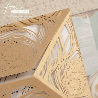 Peacock Feather Wrap laser cut wedding invitations - gold