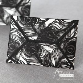 Peacock Feather Wrap laser cut wedding invitations - black