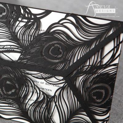 Peacock Feather Wrap laser cut wedding invitations - black