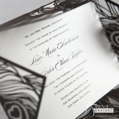 Peacock Feather Wrap laser cut wedding invitations -black
