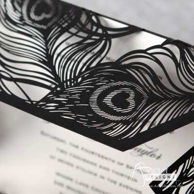 Peacock Feather Wrap laser cut wedding invitations - black detail