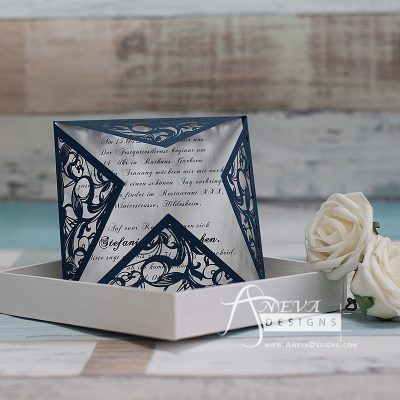 Swirling Stems Laser cut paper wedding invitations - navy